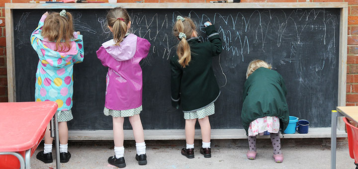 Oakwood Pupils using a blackboard